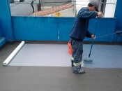 FABERTEC sendo aplicado em laje junto á Tela Poliéster-PVC