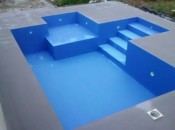 FABERTEC aplicado em piscina e posterior aplicação de tinta epóxi azul